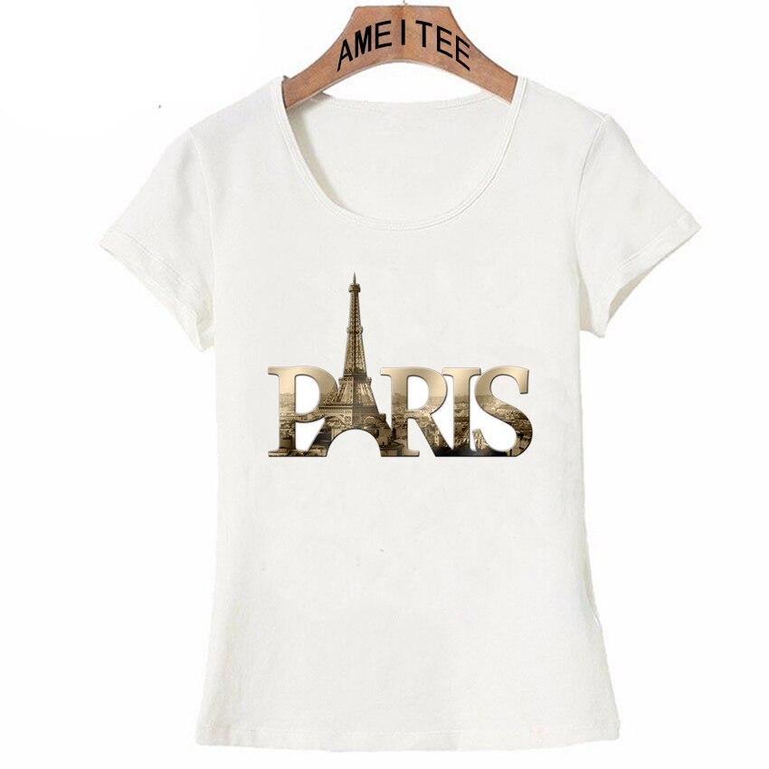 Camiseta I Love Paris, camiseta de verano a la moda para mujer, camisetas Vintage Paris con diseño de letras doradas, camisetas casuales para mujer, camisetas bonitas para chica