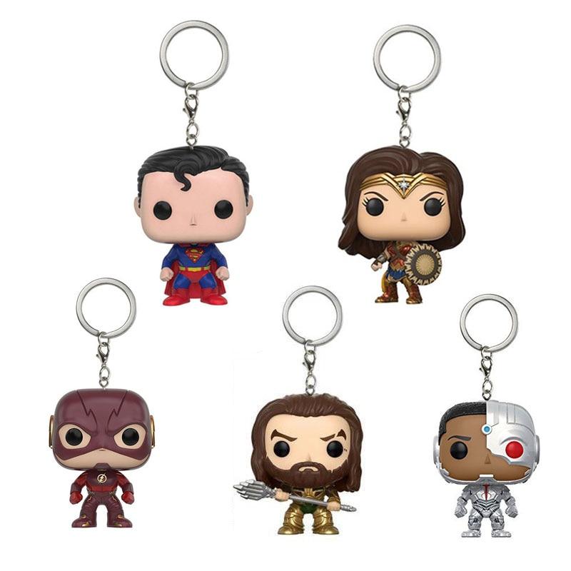 Liga sprawiedliwości Superman bohaterów brelok Flash Wonder Woman Aquaman Cyborg figurka winylowa brelok do kluczy modelu zabawki