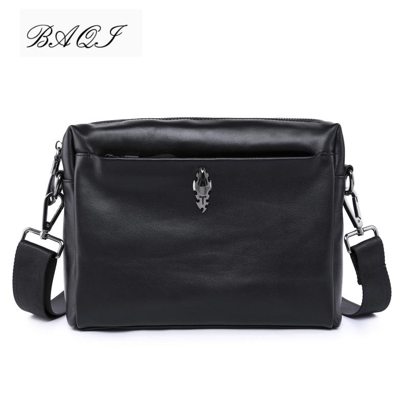 BAQI Brand Men Handbags Genuine Leather Cowhide Men Shoulder Bag Crossbody Messenger Bags 2019 Fashion High Quality Business Bag