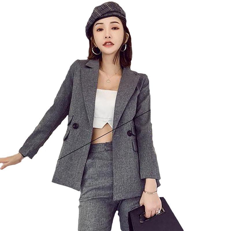 2 قطعة مجموعة المرأة بدلة الإناث 2019 أزياء السيدات بدلة الصغيرة شيك سليم OL مكتب المرأة الرسمي الأعمال دعوى الربيع الخريف W99