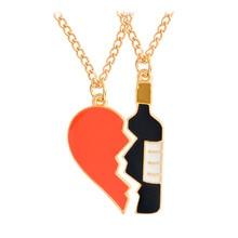 2pcs/set Broken Heart Bottle Pendant Necklace Fashion Enamel BFF Friendship Necklace For Women Men Best Friends Jewelry Gift