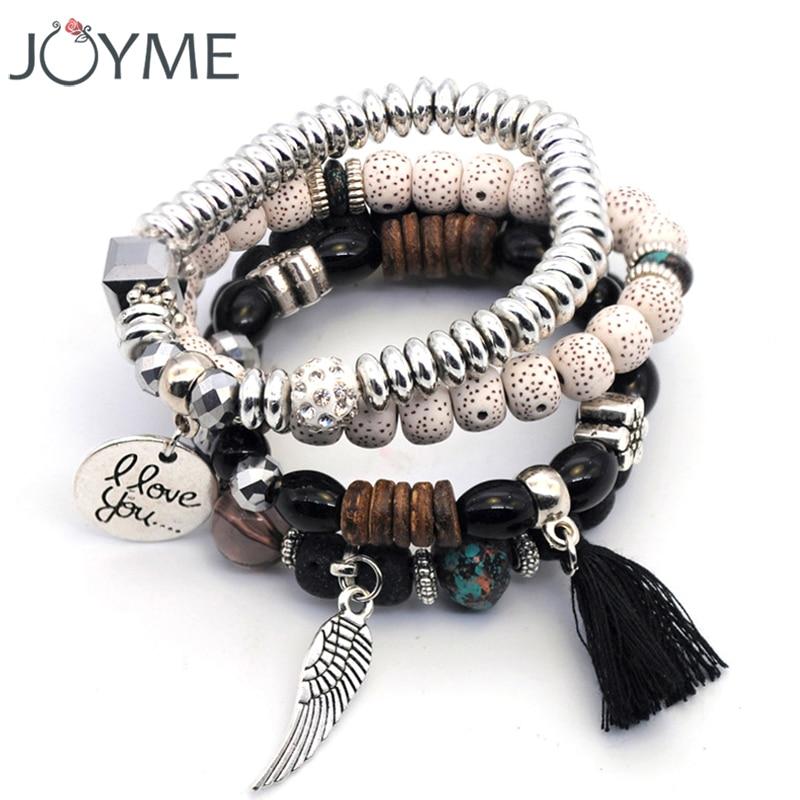 Handmade Linden Wood Beads Bracelet Tassel Angle Wing Charm Layered Strand Bracelet & Bangle for Women Black Set 4 Pieces/Lot