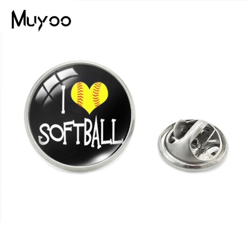 I LOVE Softball Baseball Softball Glass Round Dome Collar Pins Mens Womens Gifts Handmade Jewelry Pins Clothing Pin Gifts