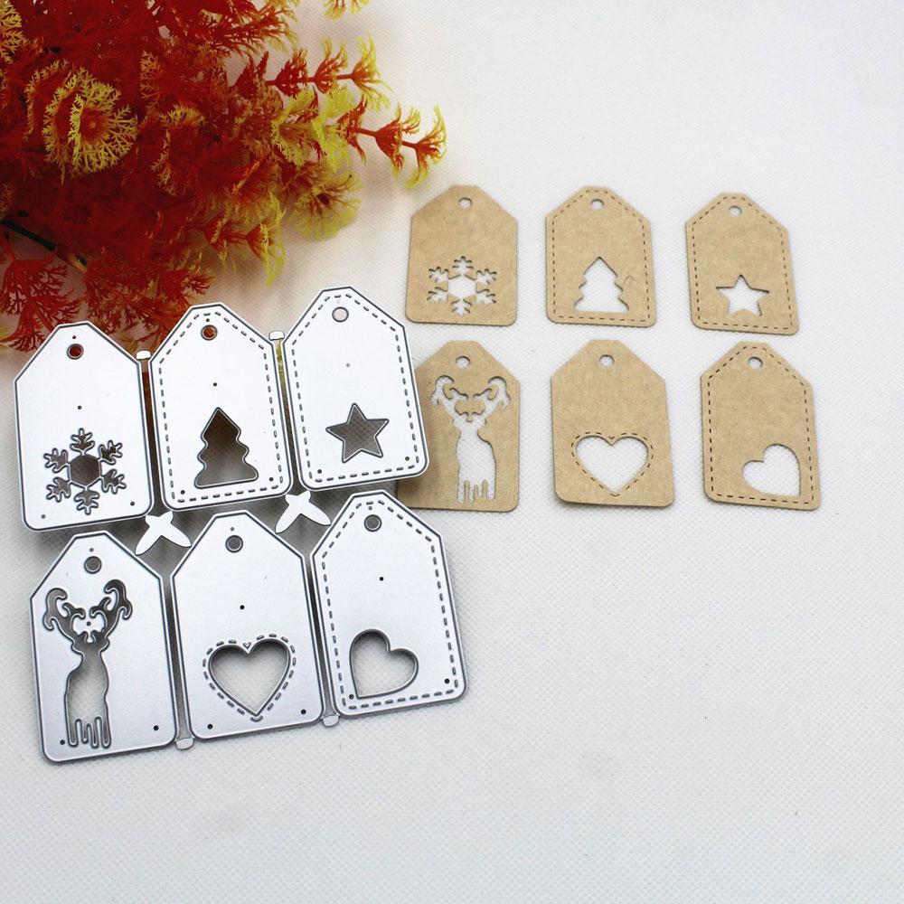 1 Uds., troqueles de Metal de etiquetas de Navidad, troqueles de corte de Metal para traje de Scrapbooking para Sizzix Fustella máquina de corte Big Shot