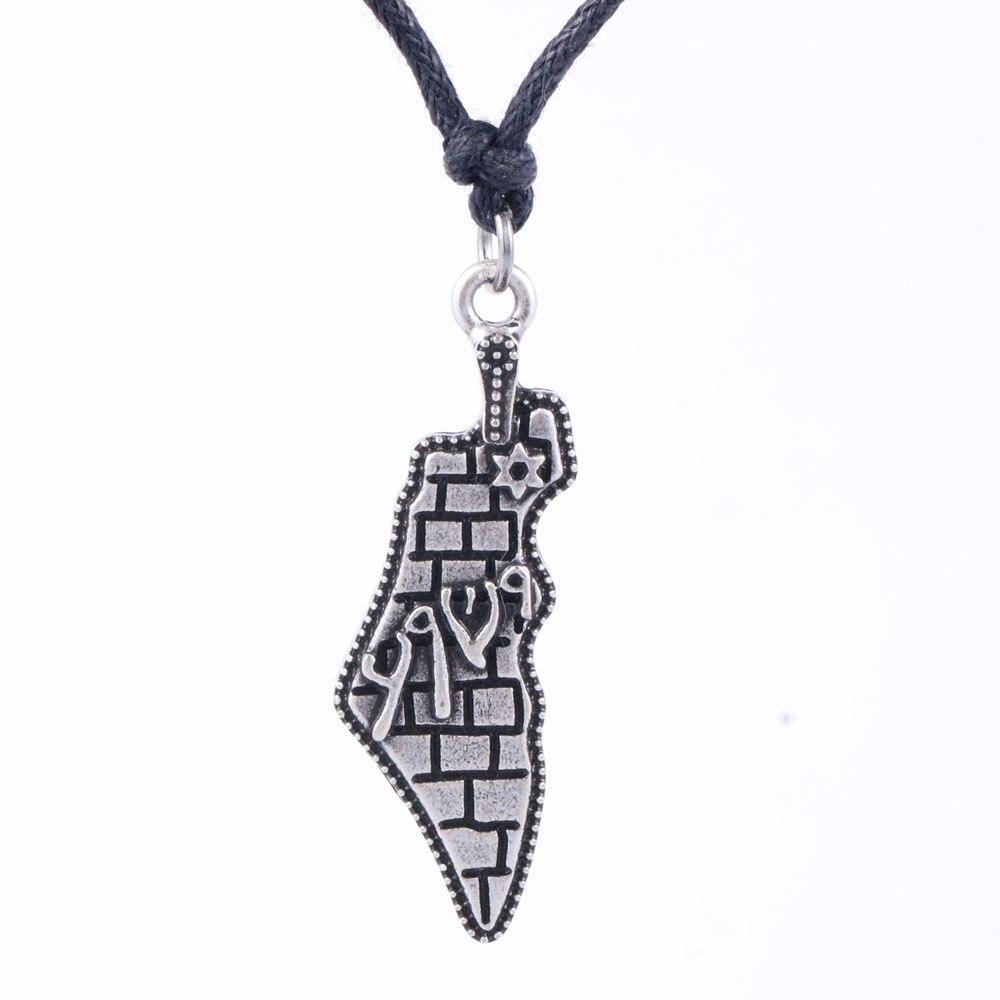 Collar con mapa de Israel, joyas con inspiración hebrea, colgante con estrella de David Vintage para hombres/mujeres, accesorios judías de Jerusalén, Dropship A191 15*38