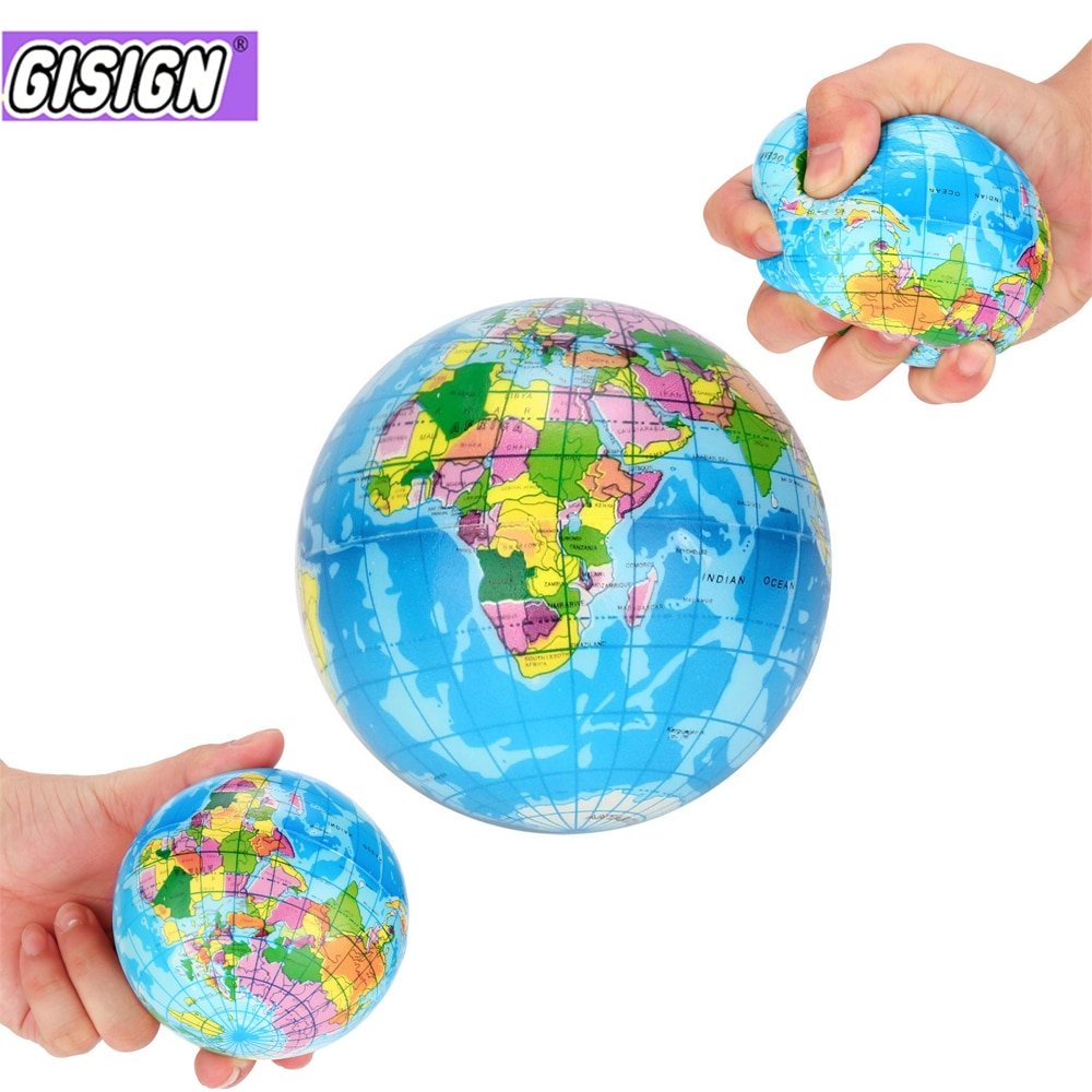 New Stress Relief Decor World Map Foam Ball Atlas Globe Palm Planet Earth Ball squeeze toy Squishy Anti-stress toys for children