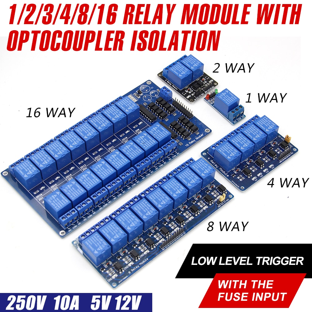WAVGAT 5V 12V 1 2 4 6 8 channel relay module with optocoupler. Relay Output way for arduino In stock