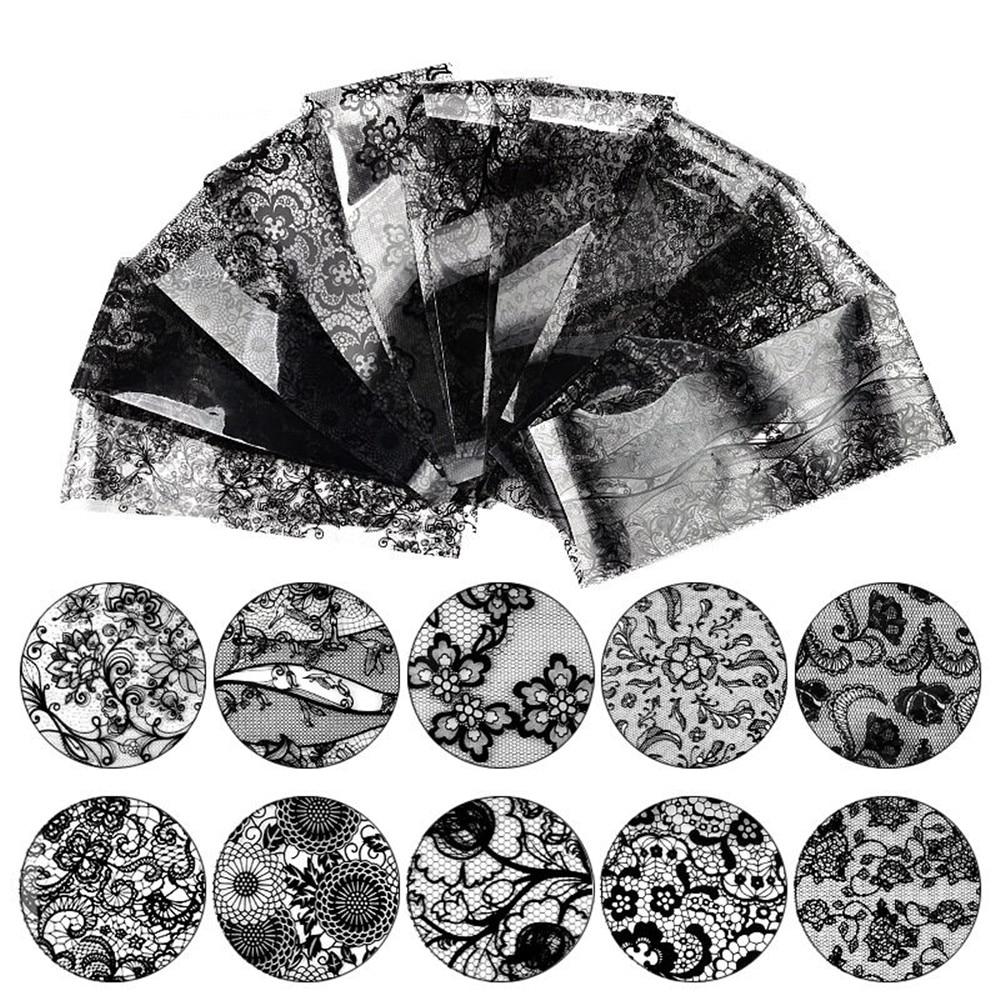 10 Sheets Black Lace Nail Sticker Transfer Lace Floral Nail Art Transfer Foil Women Nail Gel Decorat