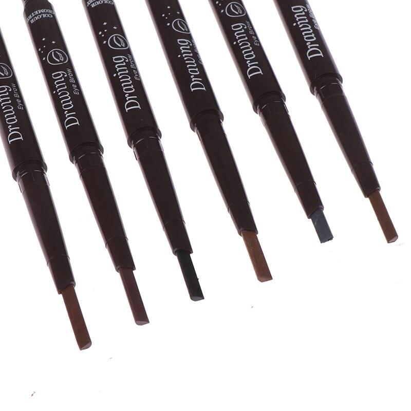 1pc 6 colores doble cabeza lápiz de cejas con el cepillo automático suave resistente al agua duradero Brow Definer Pen ojo herramientas