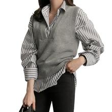 Chaleco corto de punto elegante para mujer, chaleco holgado de lana con cuello en V, chaleco femenino sólido sin mangas, suéter para mujer, prendas de vestir exteriores de primavera