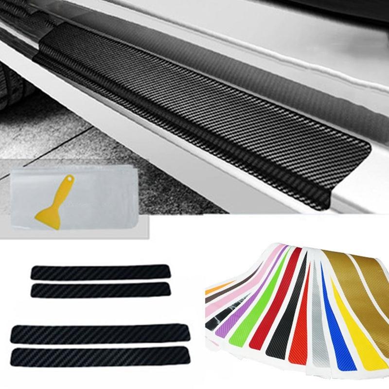 4 unids/set Universal estilo de coche etiqueta 3D de fibra de carbono puerta Anti-arañazos de los guardias de la puerta Protector de moldura decorativa para coche