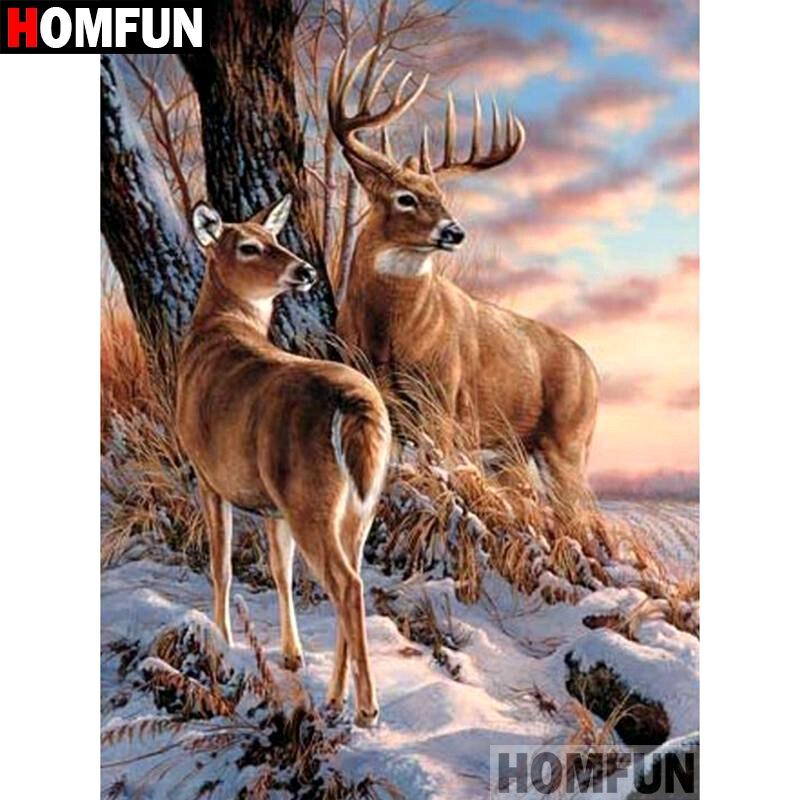 """HOMFUN 5D DIY pintura de diamante taladro cuadrado completo/redondo """"ciervo Animal"""" bordado regalo de punto de Cruz decoración del hogar regalo A09223"""