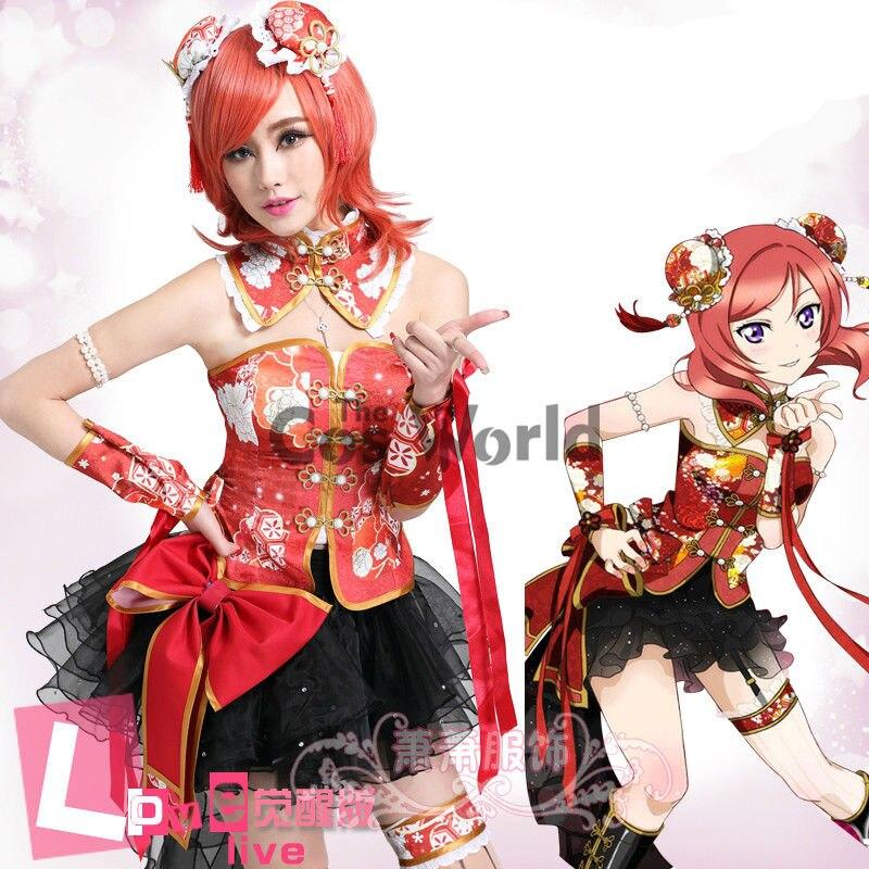 ¡LoveLive! Love Live Nishikino Maki Chinoiserie Cheongsam tubo Tops sofisticado vestido de uniforme, traje de Cosplay de Anime