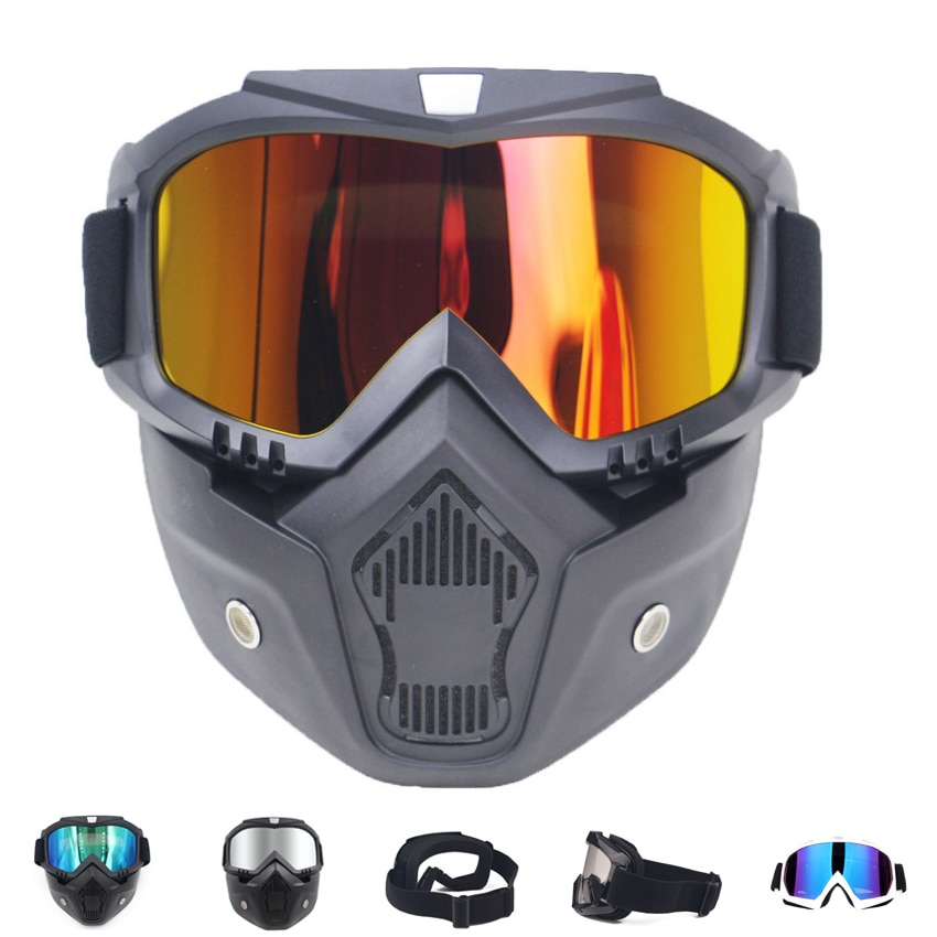 Men Women Ski Snowboard Mask Snowmobile Skiing Goggles Windproof Motocross Protective Glasses Safety Goggles with Mouth Filter