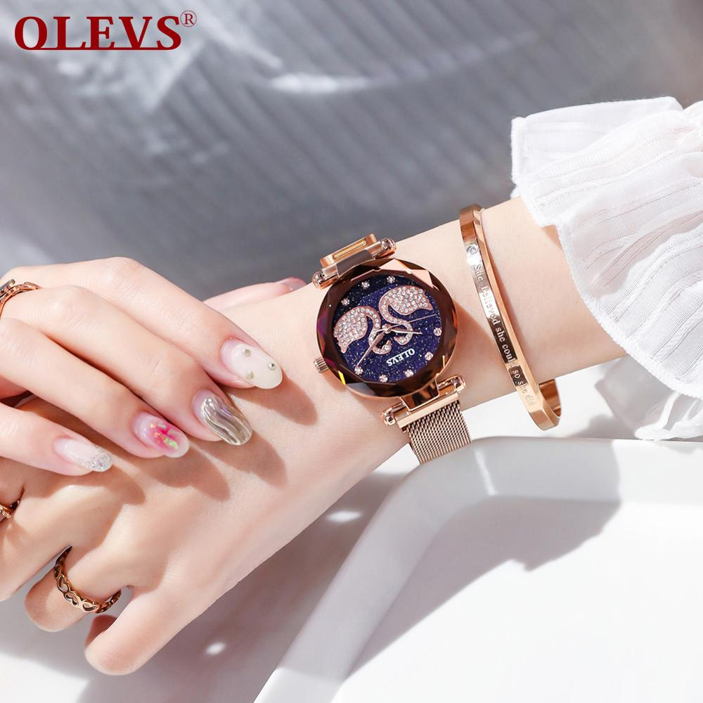 OLEVS Fashion Casual Quartz Watch White Swan Rhinestone Women's Watch Rose Gold/Black/Blue/Purple