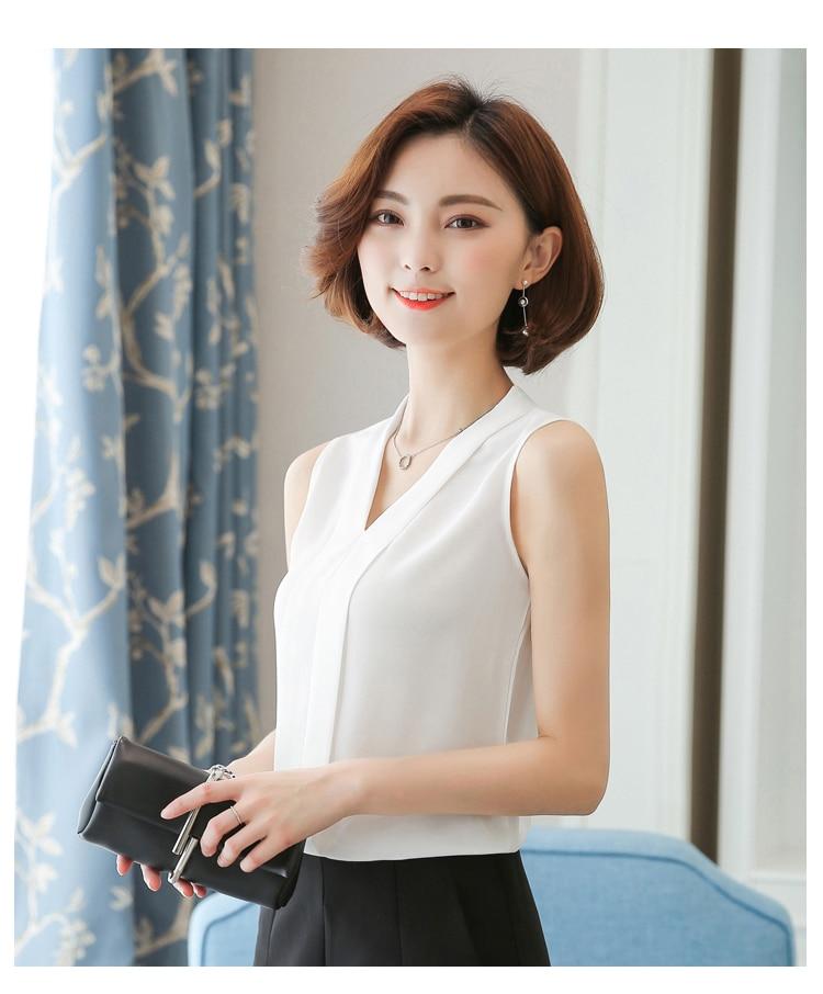 قميص شيفون صيفي بلا أكمام جديد للسيدات J80174 أبيض