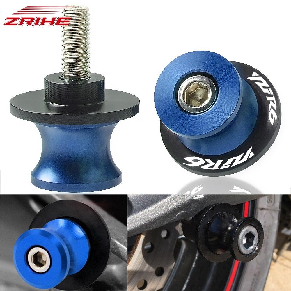6mm accesorios de la motocicleta CNC deslizadores de brazo oscilante tornillo de carretes soporte basculante para Yamaha YZFR6 YZF R6 1998-2016, 1999, 2000, 2001