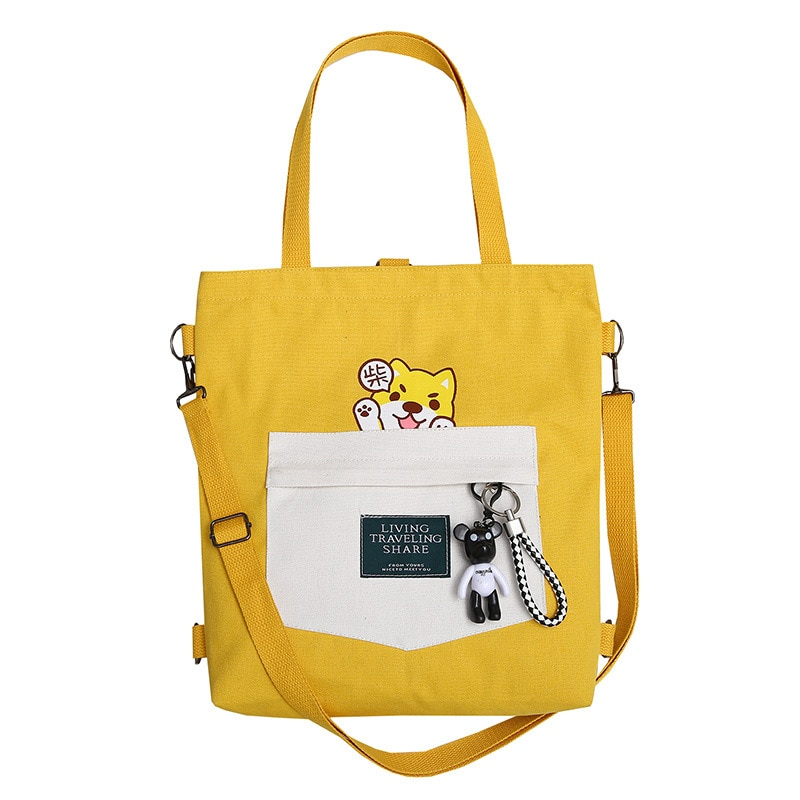 2019 Ladies Handbags Cartoon Print Cloth Canvas Tote Bag Cotton Shopping Travel Women Eco Reusable Shoulder Shopper Bags bolsas