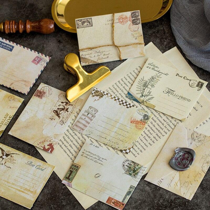 Mini sobres de estilo europeo 12 diseños Estilo Vintage lindo Kawaii dibujos animados papelería Post Sobre Carta Scrapbooking regalos