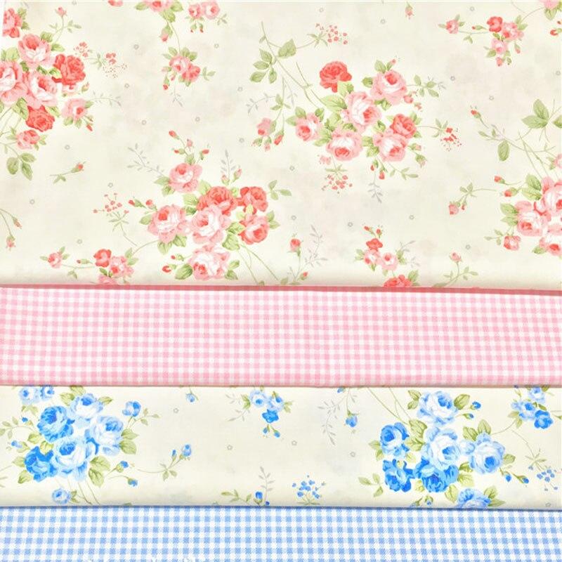 160 cm ancho hoja verde rosa azul flor impresa 100% algodón tela Floral Patchwork ropa acolchado cojín sábana bebé