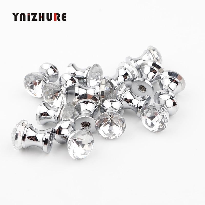 Ynizhure 12mm 15 pçs móveis de cristal brilho pequeno mini alça cômoda caso cosméticos caixa botão armário gaveta