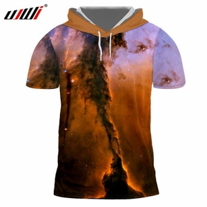 UJWI Galaxy Space Hooded Tshirts Mens Summer 3D Cool Print Short Sleeve Hoodie T-shirts Homme Hip Hop Streetwear Fitness Clothes