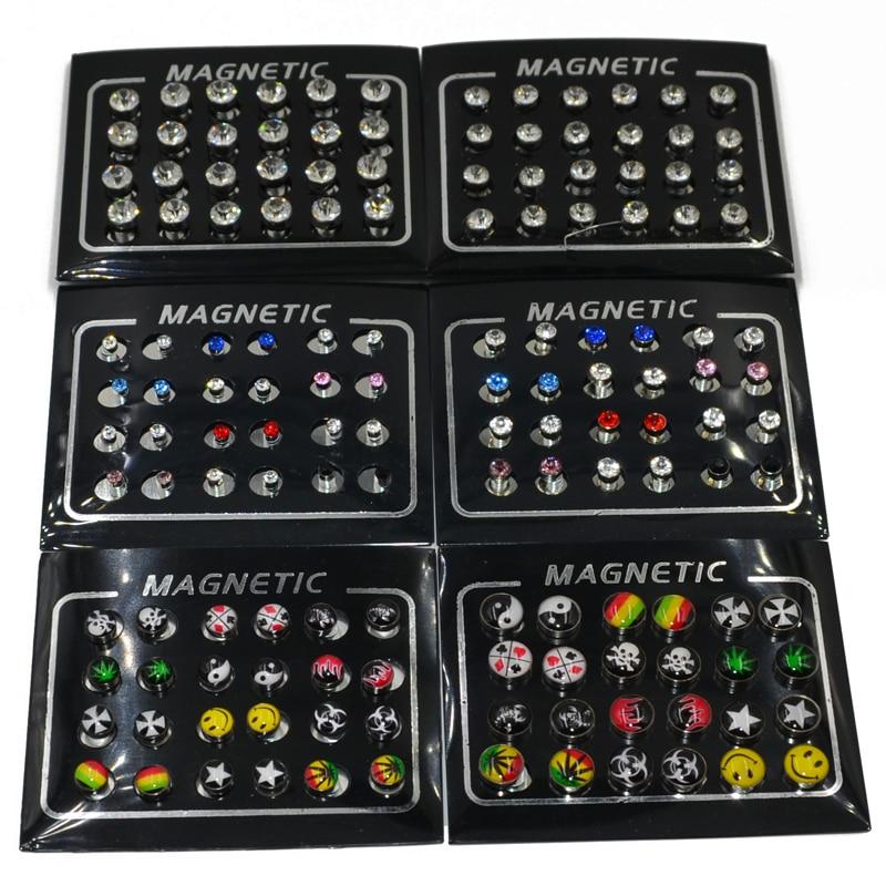 Магнитные серьги унисекс, 12 пар, 3/4/5/6/8 мм, с кристаллами и магнитом