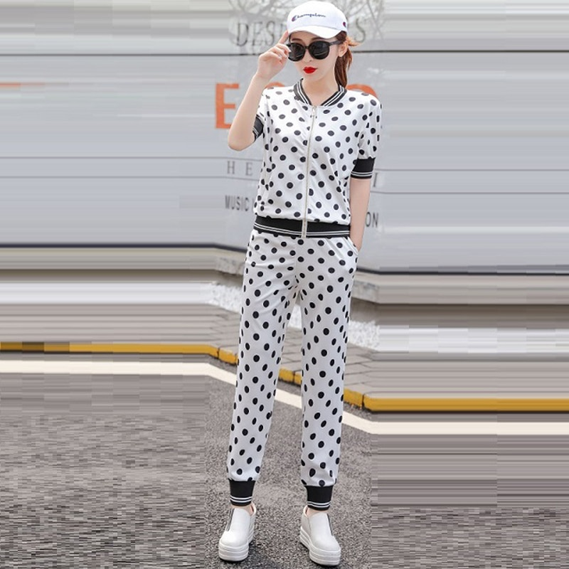 Blanco las mujeres chándales 2020 nueva moda de verano elegante pantalón a lunares traje de 2 piezas conjunto pista pantalones de camisa de las mujeres