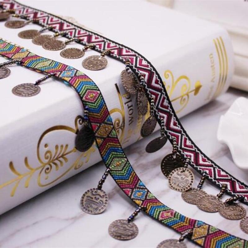2 yardas de borla de cobre étnico adorno de encaje africano tela de algodón bohemio cinta flecos gota ropa de costura cortinas Accesorios