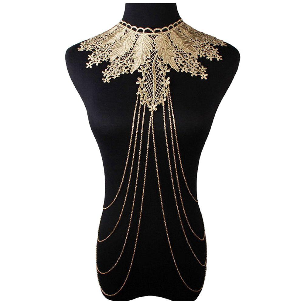 Высокое качество, золотой цвет, украшения для тела, цепь для тела, ожерелье для женщин, кружевная форма, бижутерия для тела, рождественский п...