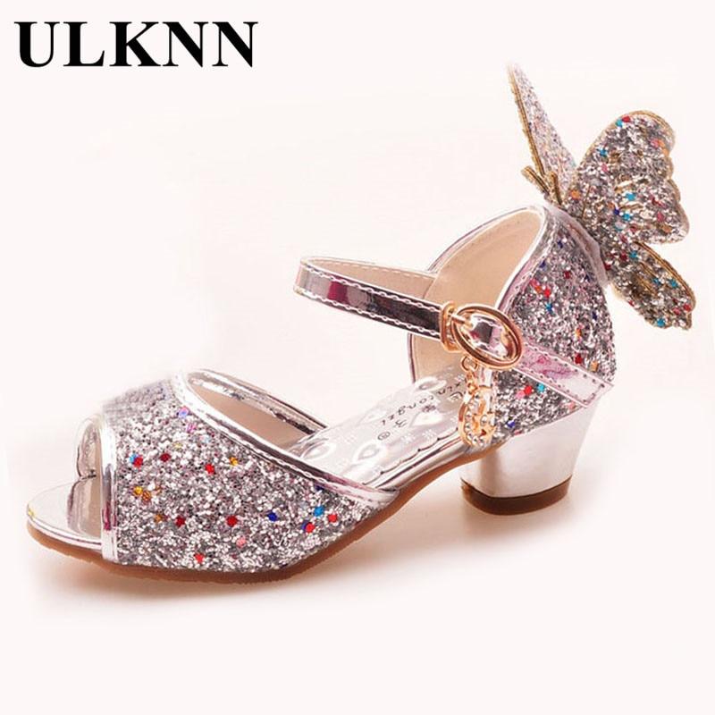 ULKNN Girls Sandals Rhinestone Butterfly pink Latin dance shoes 5-13 years old 6 children 7 summer high Heel Princess shoes kids