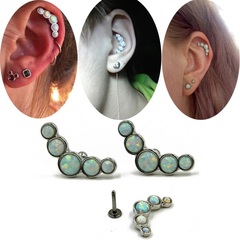 1 STÜCKE Heißer verkauf Opal Stein Tragus Ohrring Knorpel Ringe Labret Piercings 16G Körperschmuck