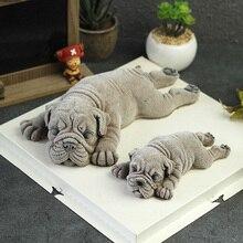 3D Shar Pei perro de silicona budín de molde de torta helado o mousse decoración herramientas
