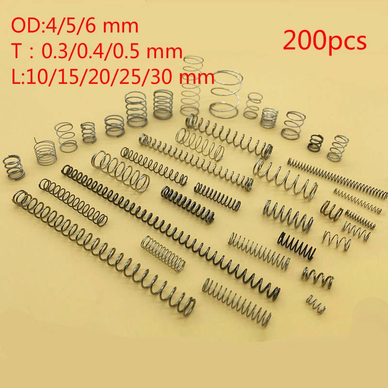 Hohe qualität 304 edelstahl compression frühling Reparatur kleine frühling anzug Draht durchmesser 0,5/0,3/0,4 OD4/ 5/6 10-30length 225 pc