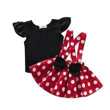2 teile/satz Kleinkind Neugeborenen Baby Kind Mädchen Kleidung Set Schwarz T shirts + Dot Bogen Röcke Overalls Nette Baby Mädchen kostüme