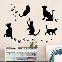 Autocollant mural amovible chat noir   Ensemble de 5 pièces, grand chat, autocollants de décoration pour la maison, autocollants muraux en vinyle, bricolage, offre spéciale
