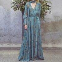 long sleeve dress bule tropical beach vintage maxi chiffon dresses boho casual v neck belt tunic draped plus size dress