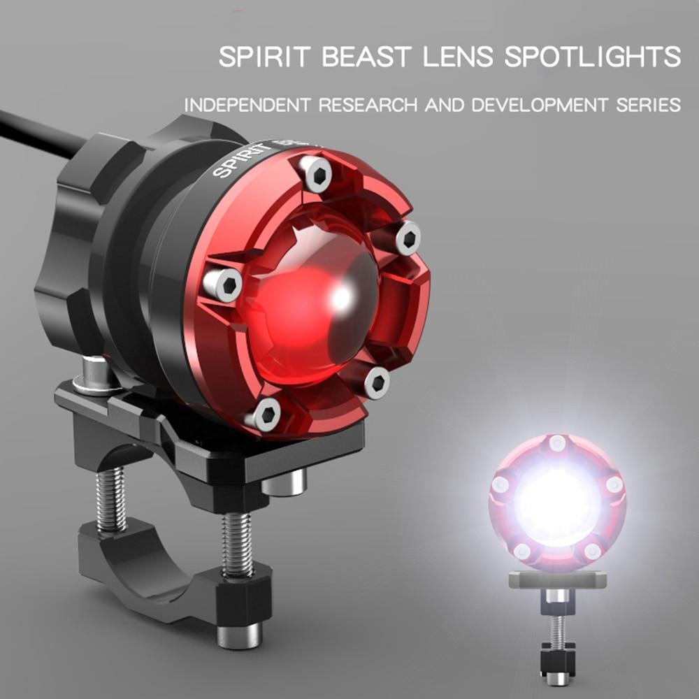 Espírito besta led spotlight motocicleta iluminação decorativa farol 48v faróis de nevoeiro super brilhante luzes auxiliares lâmpada pisca