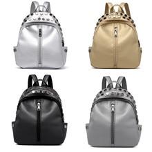 OCARDIAN Woman packet Satchel Travel School Rucksack Bag Vintage Women's Rivets Leather Backpack 19M16