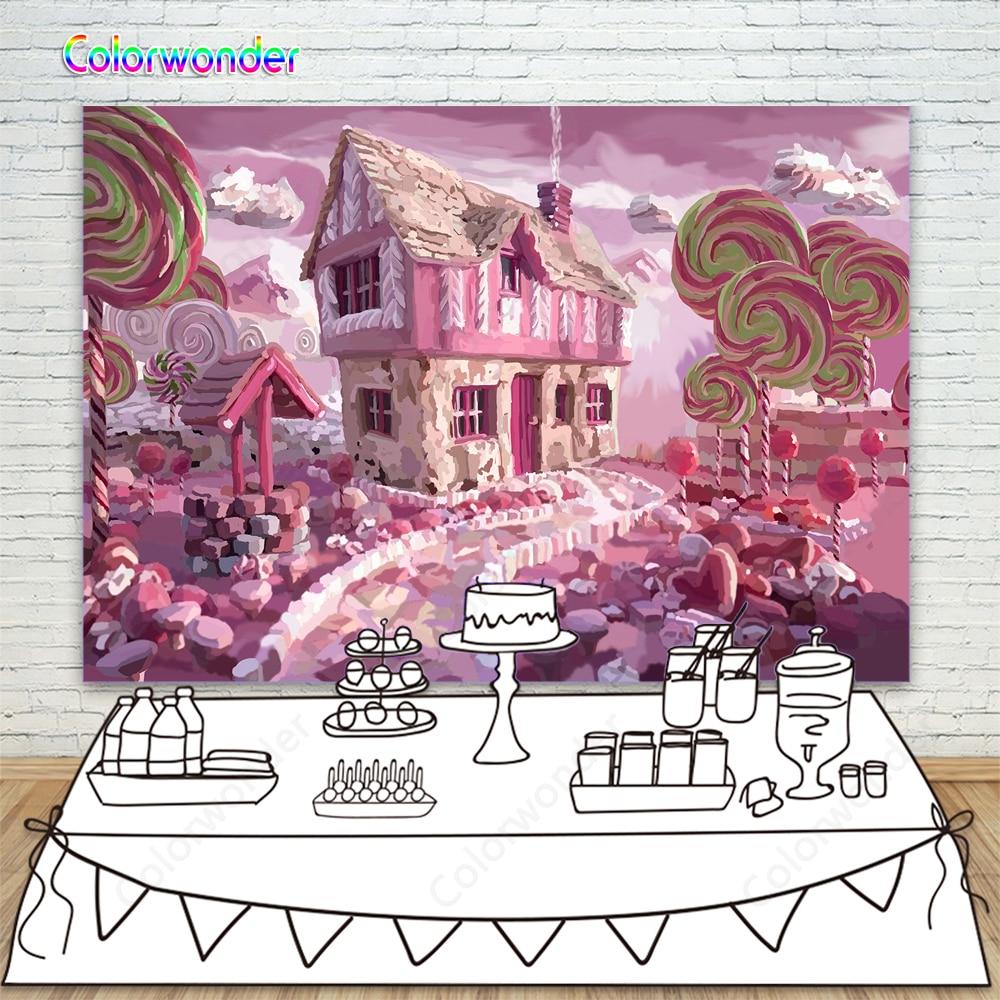 Rosa Candyland Lollipop de fondo de malvaviscos nubes de azúcar camino telón de fondo para bebé ducha bebé decoración fiesta de cumpleaños