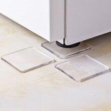4PCS/Set Anti Vibration Non-toxic Washing Machine Silicone Pad Mat Transparent Non-Slip Shock Absorbing Pads Refrigerator Home