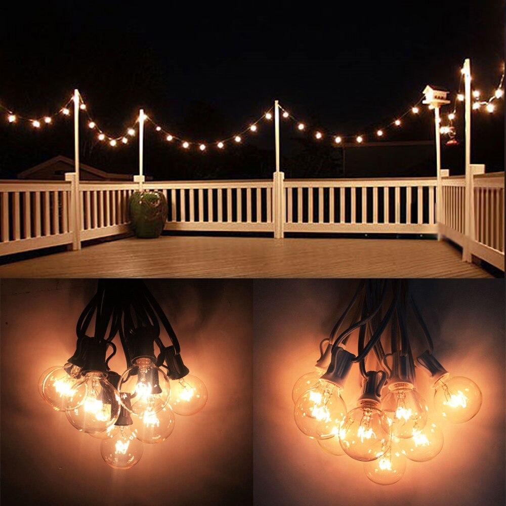 10x8 M Europeia Clara G40 Globo Luzes Da Corda, incluído Conectável Pátio Luzes Do Feriado Luz da Corda Para O Casamento