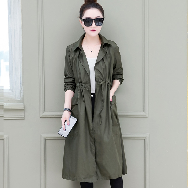 Women's windbreaker long section 2018new fashion loose drawstring waist thin section solid color coa