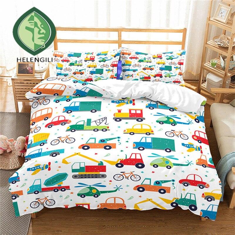 HELENGILI 3D Bedding Set cartoon car Print Duvet cover set bedclothes with pillowcase bed set home Textiles #ET-14