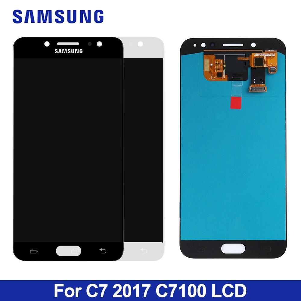 """5,5 """"C8 lcd para Samsung Galaxy C7 2017 C8 C7100 C710 LCD pantalla táctil digitalizador reemplazo LCD para C710F/DS pantalla"""