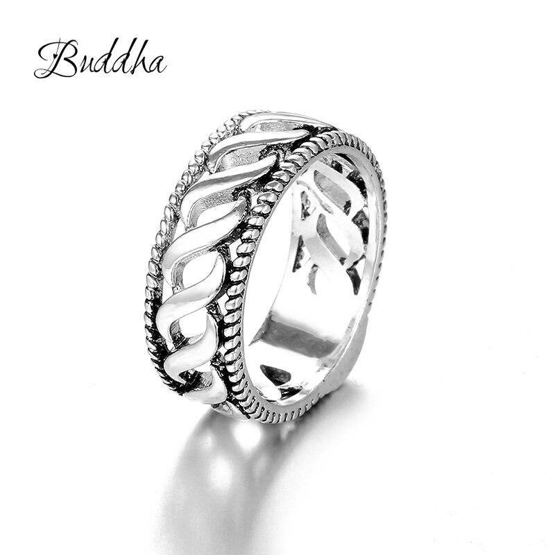 Vintage Buddha Ring für Frauen Mann Punk Antike Silber Farbe Knuckle Ringe Boho Schmuck Niederlande Anillos Geschenk Tropfen Verschiffen