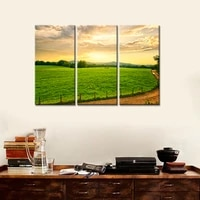 drop shipping 3 pieces canvas wall art sunset gasslands canvas painting decorative picture modern home decor no frame
