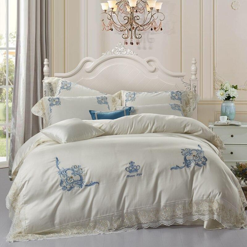 Juego de cama 2018 de algodón egipcio con encaje bordado con corona juego de sábanas de regalo para adultos tamaño queen/king size