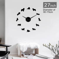 Frameless Cavalier King Charles Spaniel 3D DIY Wall Clock Dog Pet Puppy Shop Wall Art Deco Creative Stickers For Living Room