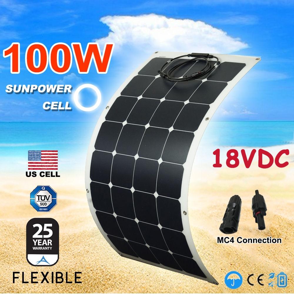 Sunpower لوحة طاقة شمسية مرنة 12 فولت 100 واط شبه لوحات شمسية مرنة للعربة ، قافلة ، rv ، قارب